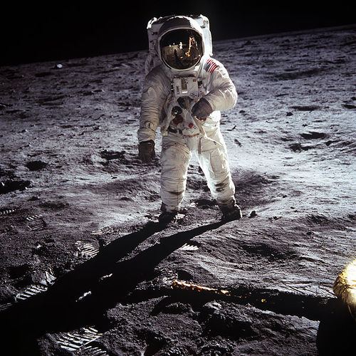http://commons.wikimedia.org/wiki/File:Aldrin_Apollo_11.jpg