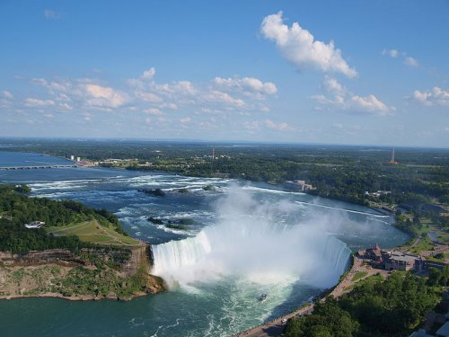 http://commons.wikimedia.org/wiki/File:Canadian_Horseshoe_Falls_with_Buffalo_in_background.jpg