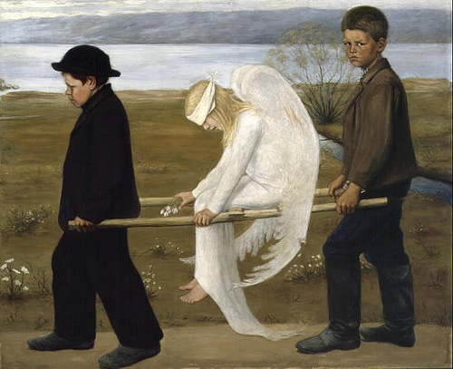 http://commons.wikimedia.org/wiki/File:The_Wounded_Angel_-_Hugo_Simberg.jpg