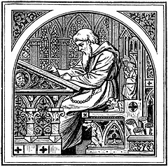 http://commons.wikimedia.org/wiki/File:Medieval_writing_desk.jpg