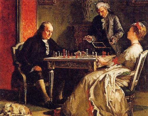 http://commons.wikimedia.org/wiki/File:Benjamin_Franklin_playing_chess.jpg