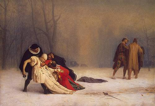 http://commons.wikimedia.org/wiki/Image:Jean-L%C3%A9on_G%C3%A9r%C3%B4me_-_Duel_After_a_Masquerade_Ball.jpg