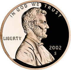 http://commons.wikimedia.org/wiki/File:United_States_penny,_obverse,_2002.jpg