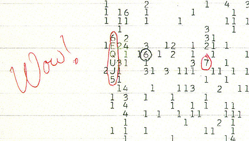 http://commons.wikimedia.org/wiki/File:Wow_signal.jpg