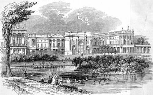 http://commons.wikimedia.org/wiki/File:Buckingham_Palace_ILN_1842.jpg