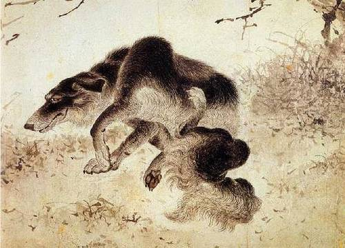 http://commons.wikimedia.org/wiki/File:Kim_Duryang-Scratching_dog.jpg