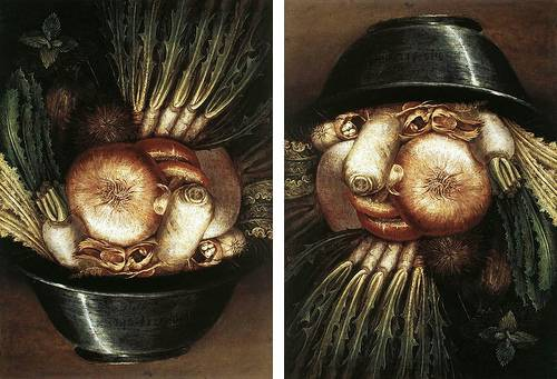 http://commons.wikimedia.org/wiki/File:Arcimboldo,_Giuseppe_-_Vegetables_in_a_Bowl_or_The_Gardener_-_1590s.jpg