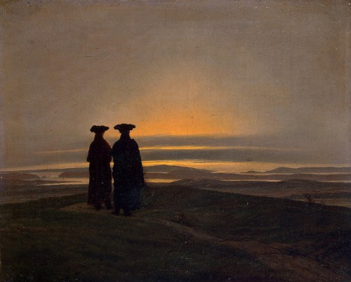 http://commons.wikimedia.org/wiki/File:Sunset_by_Caspar_David_Friedrich.jpg