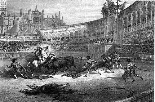 http://commons.wikimedia.org/wiki/File:Sevilla_bullfighting_c1850.jpg