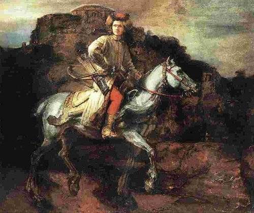 http://commons.wikimedia.org/wiki/File:Rembrandt_-_The_Polish_Rider.jpg