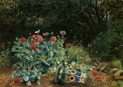 http://commons.wikimedia.org/wiki/File:David_Bates_-_Summer_flowers_in_a_quiet_corner_of_the_garden.jpg