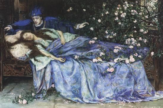 http://commons.wikimedia.org/wiki/File:Henry_Meynell_Rheam_-_Sleeping_Beauty.jpg