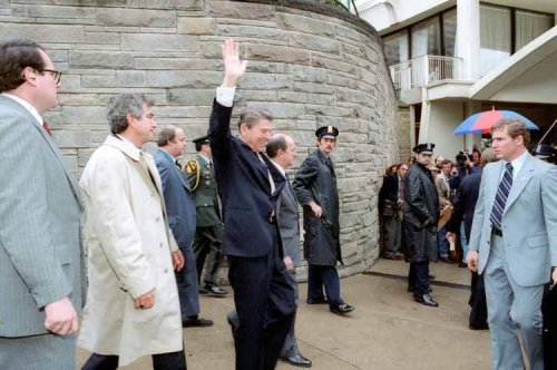 http://commons.wikimedia.org/wiki/File:President_Reagan_waves_to_crowd_immediately_before_being_shot_1981.jpg