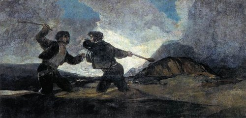 http://commons.wikimedia.org/wiki/File:Francisco_de_Goya_y_Lucientes_-_Duel_with_Cudgels_-_WGA10102.jpg