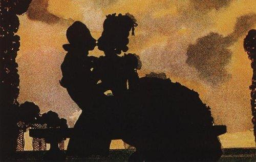 http://commons.wikimedia.org/wiki/File:Konstantin_Somov_Kiss_Silhouette_1906.jpg