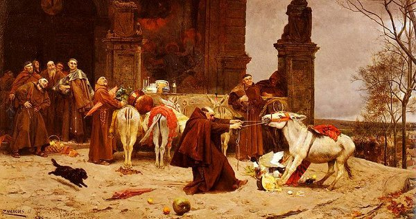 http://commons.wikimedia.org/wiki/File:%27Taming_the_Donkey%27,_painting_by_Eduardo_Zamacois_y_Zabala,_1868,_private_collection.jpg