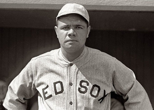 http://commons.wikimedia.org/wiki/File:Babe_Ruth_Red_Sox_1918.jpg