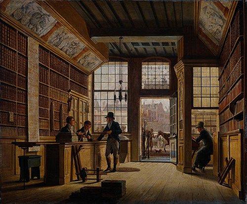 http://commons.wikimedia.org/wiki/File:Johannes_Jelgerhuis_-_De_winkel_van_boekhandelaar_Pieter_Meijer_Warnars.jpg