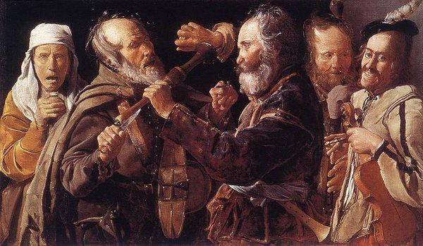 http://commons.wikimedia.org/wiki/File:Georges_de_La_Tour_-_Quarrelling_Musicians_-_WGA12329.jpg