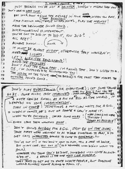thelonious monk performance notes