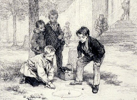 http://commons.wikimedia.org/wiki/File:Andr%C3%A9-Henri_Dargelas_-_Boys_Playing_Marbles_-_Walters_371636.jpg