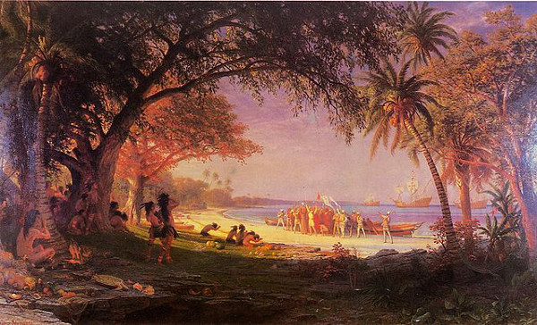 http://commons.wikimedia.org/wiki/File:Bierstadt_Albert_The_Landing_of_Columbus.jpg