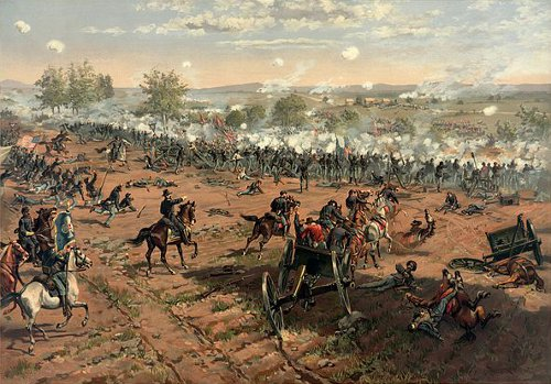 http://commons.wikimedia.org/wiki/File:Thure_de_Thulstrup_-_L._Prang_and_Co._-_Battle_of_Gettysburg_-_Restoration_by_Adam_Cuerden.jpg