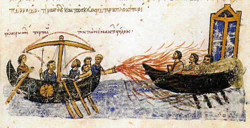 http://commons.wikimedia.org/wiki/File:Greekfire-madridskylitzes1.jpg
