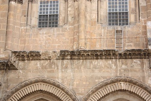 http://commons.wikimedia.org/wiki/File:Holy_Sepulchre_ladder_disagreement.jpg