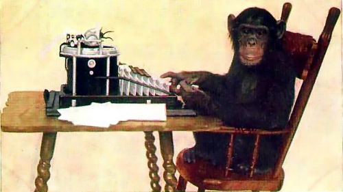 http://commons.wikimedia.org/wiki/File:Monkey-typing.jpg