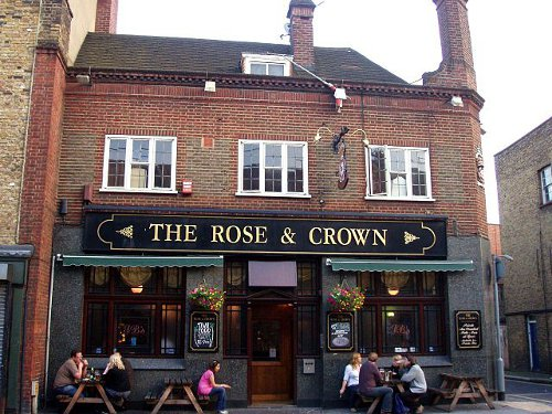 http://commons.wikimedia.org/wiki/File:Rose_and_Crown,_Borough,_SE1_(2546486162).jpg
