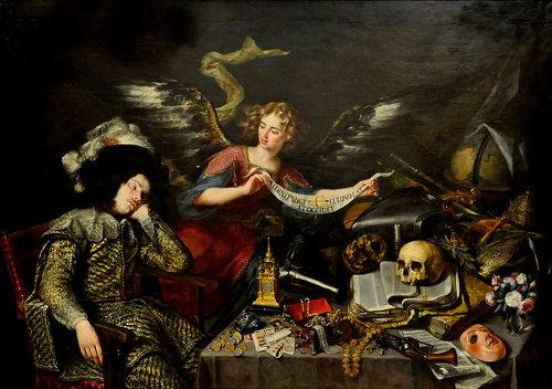 http://commons.wikimedia.org/wiki/File:Antonio_de_Pereda_(1611-1678)_-_Visioen_van_een_ridder_(na_1650)_-_Madrid_Bellas_Artes_21-03-2010_11-15-11.jpg