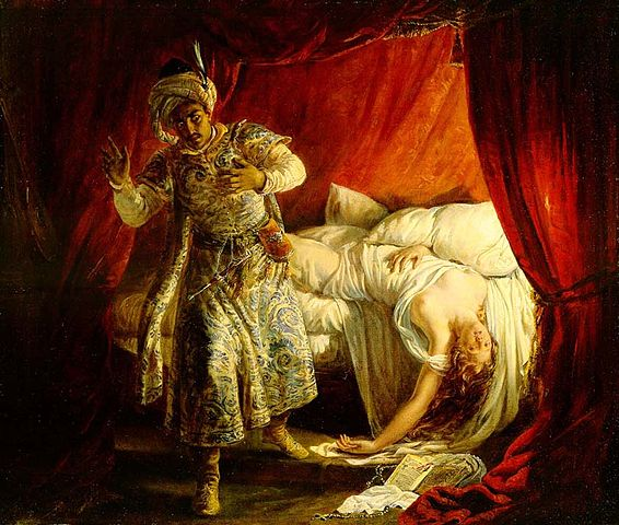 http://commons.wikimedia.org/wiki/File:Othello_and_Desdemona_by_Alexandre-Marie_Colin.jpg