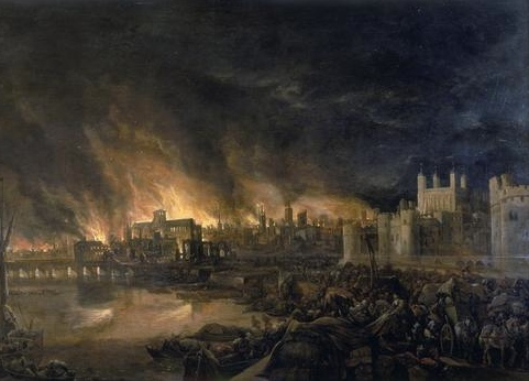 http://commons.wikimedia.org/wiki/File:Great_Fire_London.jpg