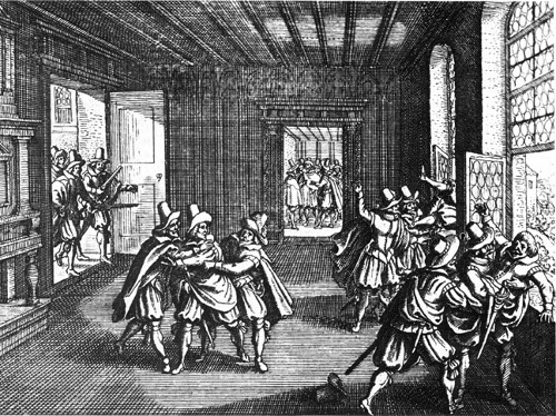 http://commons.wikimedia.org/wiki/File:Defenestration-prague-1618.jpg
