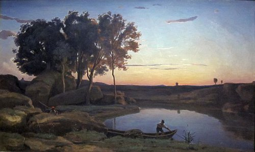 http://commons.wikimedia.org/wiki/File:Landscape_with_Lake_and_Boatman_by_Jean-Baptiste-Camille_Corot,_1839,_Getty_Center.JPG