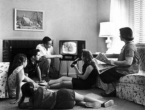 http://commons.wikimedia.org/wiki/File:Family_watching_television_1958.jpg