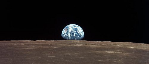 http://commons.wikimedia.org/wiki/File:View_from_the_Apollo_11_shows_Earth_rising_above_the_moon%27s_horizon.jpg