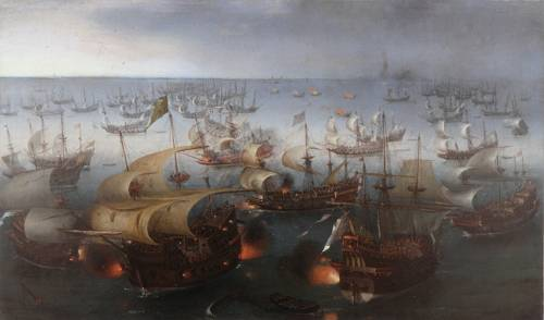 http://commons.wikimedia.org/wiki/File:Vroom_Hendrick_Cornelisz_Battle_between_England_and_Spain_1601.jpg