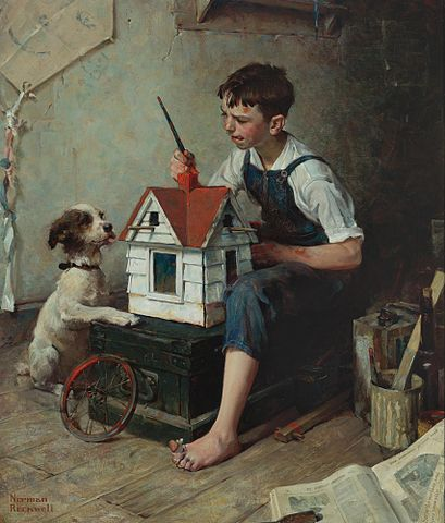 http://commons.wikimedia.org/wiki/File:Norman_Rockwell_-_Painting_the_little_House_(1921).jpg