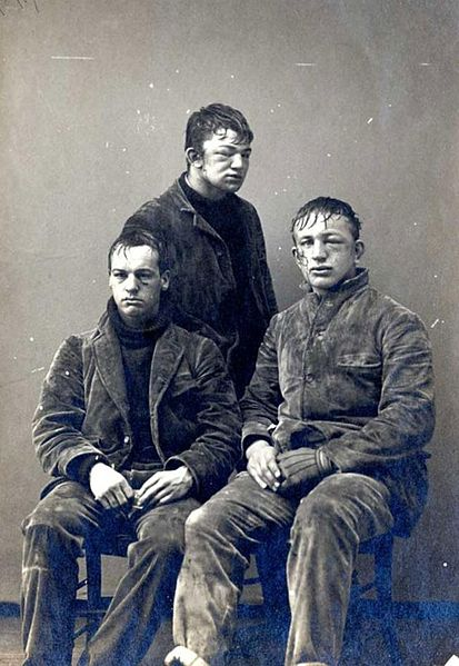 http://commons.wikimedia.org/wiki/File:Princeton_students_after_a_freshman_vs._sophomores_snowball_fight_in_1893.jpg