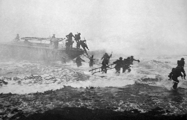 http://commons.wikimedia.org/wiki/File:Jack_Churchill_leading_training_charge_with_sword.jpg
