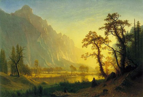 http://commons.wikimedia.org/wiki/File:HRSOA_AlbertBierstadt-Sunrise_at_Glacier_Station.jpg