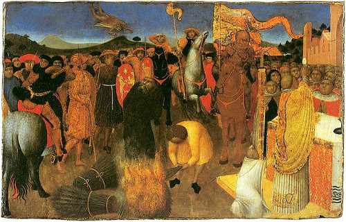 http://commons.wikimedia.org/wiki/File:Burning-of-a-heretic--_Sassetta--Melburn_museum.jpg