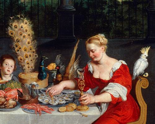 https://commons.wikimedia.org/wiki/File:Peacock_served_in_full_plumage_(detail_of_BRUEGHEL_Taste,_Hearing_and_Touch).jpg