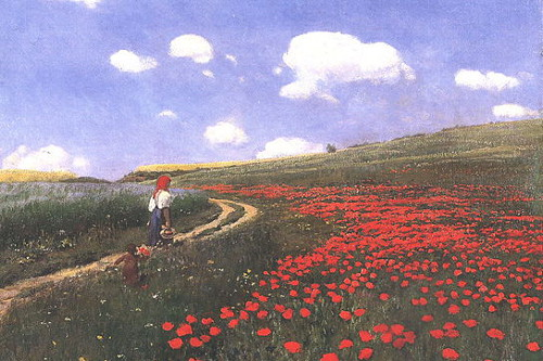 http://commons.wikimedia.org/wiki/File:Szinyei_Merse,_P%C3%A1l_-_Poppies_in_the_Field_(1902).jpg