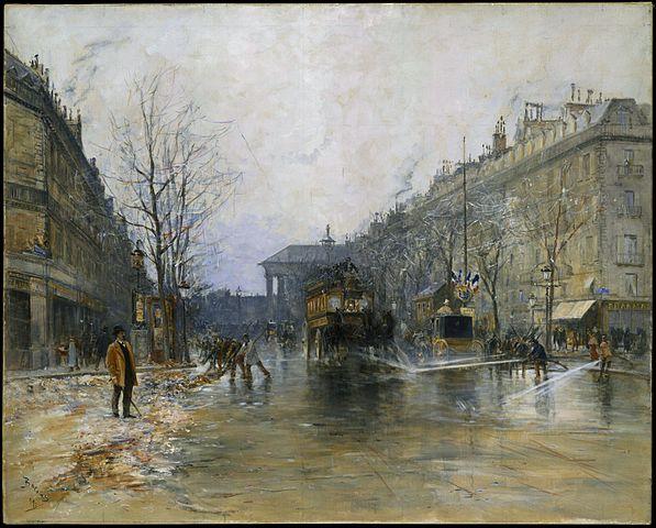 http://commons.wikimedia.org/wiki/File:Sc%C3%A8ne_de_rue_parisienne_par_Frank_Boggs.jpg