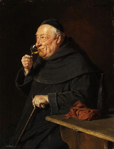 https://commons.wikimedia.org/wiki/File:Gr%C3%BCtzner_Benediktinerm%C3%B6nch_mit_Wein_beim_Fr%C3%BChschoppen.jpg