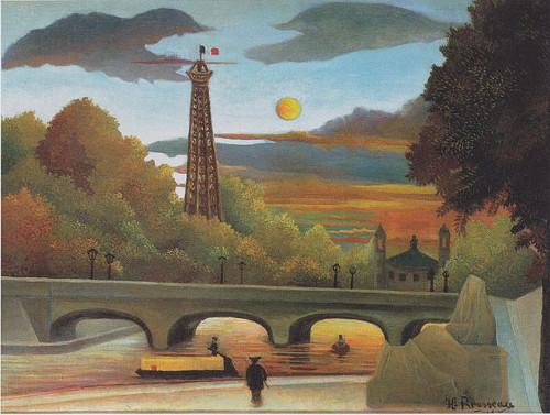 http://commons.wikimedia.org/wiki/File:Henri_Rousseau_-_Seine_und_Eiffelturm_in_der_Abendsonne_-_1910.jpeg