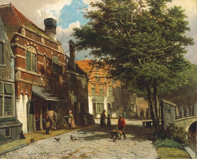 https://commons.wikimedia.org/wiki/File:Willem_Koekkoek_-_Dutch_town_in_the_summer_10426.jpg